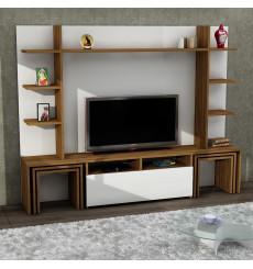 Ensemble meuble TV DANTE blanc noyer 180 cm