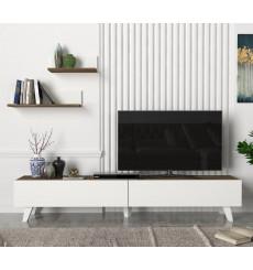 Ensemble meuble TV AMERIKA blanc noyer 180 cm