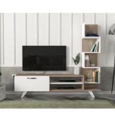 Ensemble meuble TV et bibliothèque CEREN blanc cordoba 150 cm