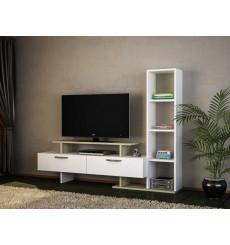 Ensemble meuble TV et bibliothèque MINEL blanc cordoba 149 cm