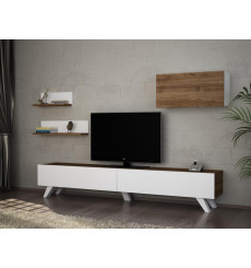 Ensemble meuble TV CATERINA blanc noyer 180 cm