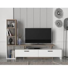 Ensemble meuble TV et bibliothèque SIMAL blanc cordoba 168 cm
