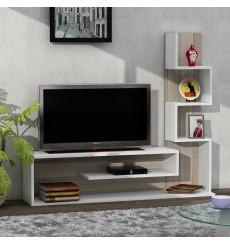 Ensemble meuble TV et bibliothèque METEHAN blanc cordoba 150 cm