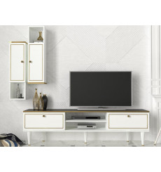 Ensemble meuble TV RAVENNA blanc marbre 180 cm