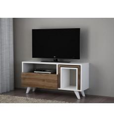 Meuble TV NOVELLA K2 blanc noyer 90 cm