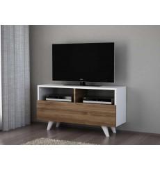 Meuble TV NOVELLA K3 blanc noyer 90 cm