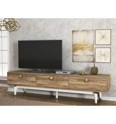 Meuble TV BUSE blanc noyer 180 cm
