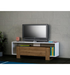 Meuble TV MERY blanc noyer 120 cm