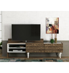 Meuble TV LENTI blanc noyer 182 cm