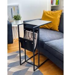 Table d'appoint en marbre noir et cuir