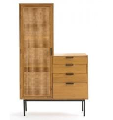 Armoire 1 porte et 4 tiroirs 110 x 180 cm