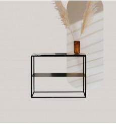 Console en métal et marbre blanc en noir 100 cm