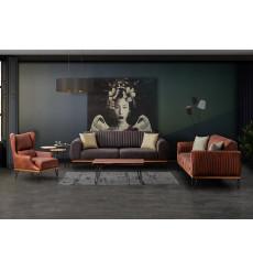 Ensemble canapé triple convertible et fauteuil ROMA gris