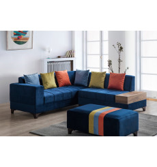 Canapé d'angle AZRA bleu 210 x 205 cm