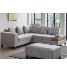 Canapé d'angle AZRA lin 210 x 205 cm Gris
