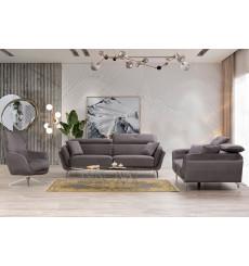 Ensemble 2 canapés triples convertibles et 1 fauteuil ENZO gris anthracite