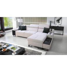 Canapé d'angle convertible ALICANTE MINI 274 x 173 cm blanc