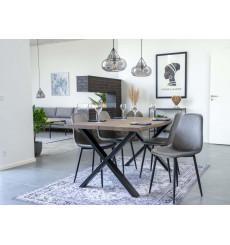 Table à manger TOULON en chêne massif gris fumée 140x95 cm