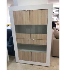 Vitrine 4 portes BASIC blanc-chêne 102/162/43 cm