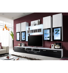 Ensemble meuble TV CALVI 300cm Blanc/Noir